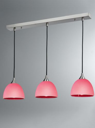 Franklite FL2290/3/946 Satin Nickel & Red Pendant Light